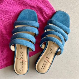 Sole society saxten strappy sandal slides blue